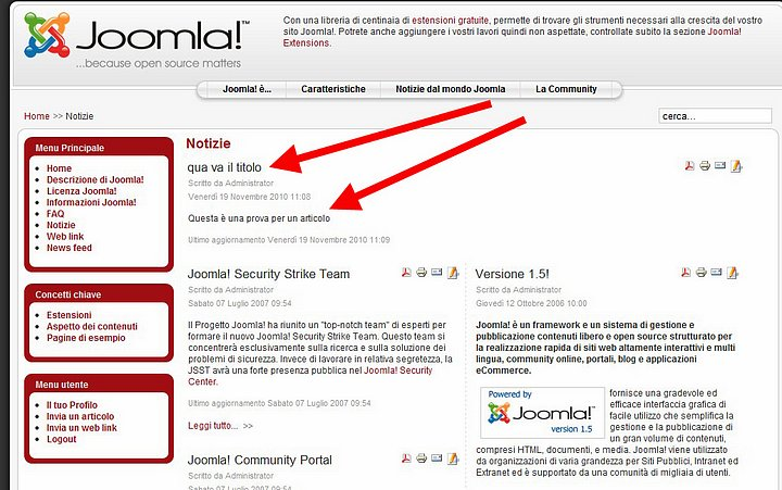 Articolo in Joomla